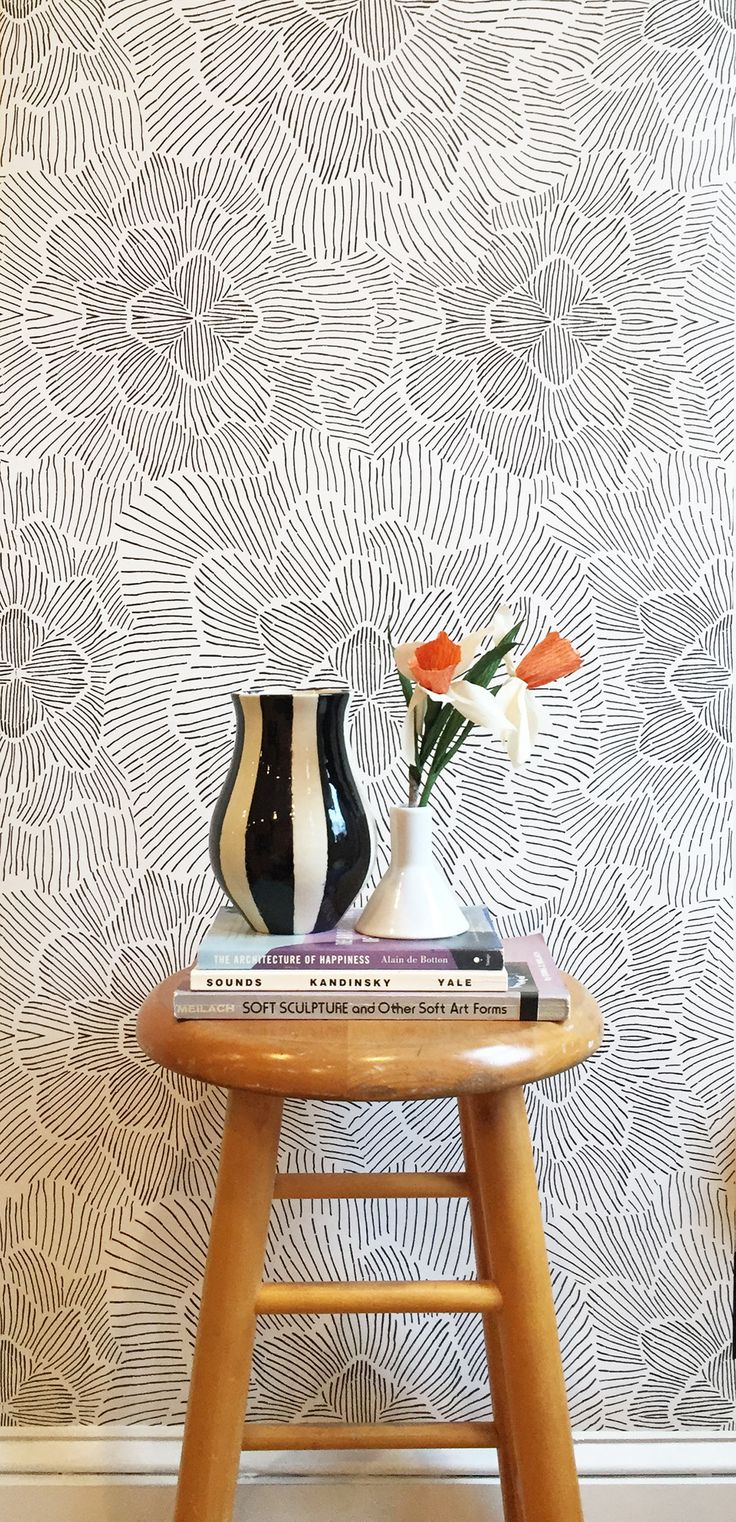 Removable Wallpaper / Pinstripe Floral Black and White