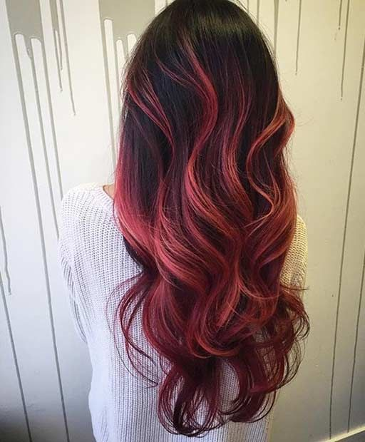 Red Balayage Ombre Hair
