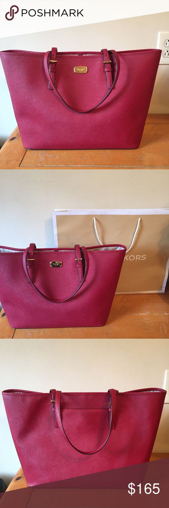 NWT Michael Kors Jet Set Tote Saffiano Leather (scratch resistant water resistant)  17 x 11.5 x 5 Snap Closure  Back Pocket  Color is Cherry  Will send with shopping bag  Please make offers using the offer button MICHAEL Michael Kors Bags Totes