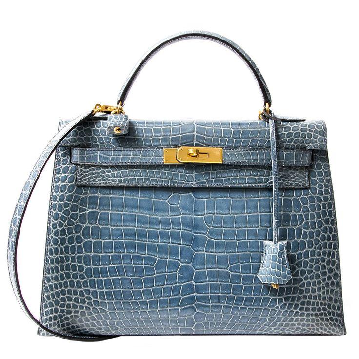 Rare Hermes Blue Jean Porosus Crocodile 32 Kelly GHW | See more vintage Hermes Kelly Bags at http://www.1stdibs.com/fashion/handbags-purses-bags/top-handle-bags/hermes-kelly-bag in 1stdibs