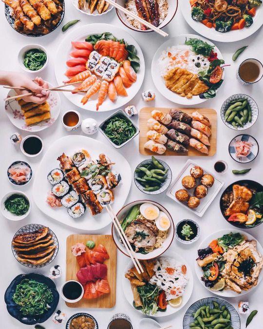 Japanese Feast  ✧   #sushi #food #nigiri