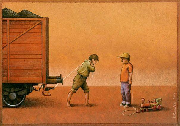 O ilustrador polonês Pawel Kuczynski usa a sátira para retratar a realidade, social, política e cultural.À primeira vista suas ilustrações parecem engraçadas mas a intenção é retratar o que realmente acontece no mundo.