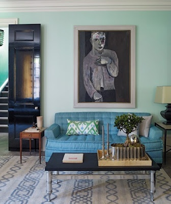 Great paint color. I would have never thought to use it with that sofa color but it works great. coolDecor, Wall Colors, Living Rooms, Living Room Colors, Black Doors, Blue Sofas, Livingroom, Interiors Design, Steven Gambrel