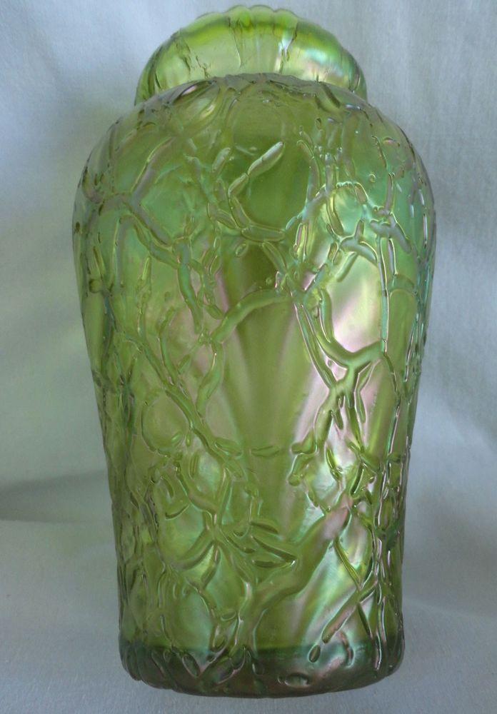 1800s Antique Loetz Art Glass Vase Threaded Webbed