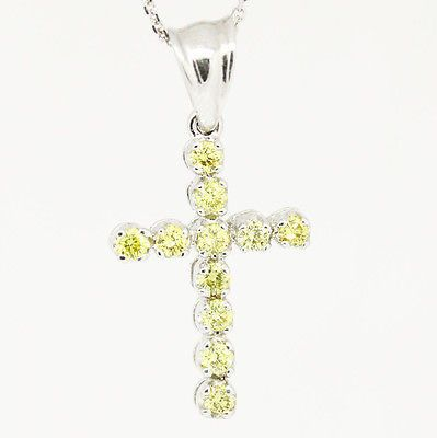 Custom 14k White Gold,Si1,0.62tcw Canary Yellow Diamond Mini Cross Necklace 18""