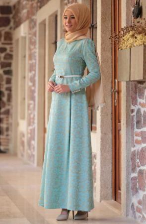 Amine Hüma Cansu Mint Yeşili Elbise 3106