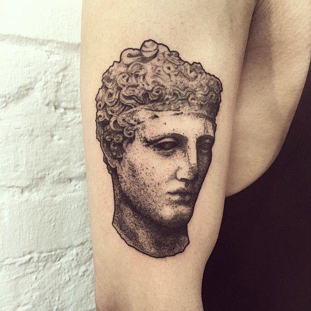 kouros for stanley #tattoo #statue #sculpture #kouros #blackworkerssubmission #dotwork #lovettt