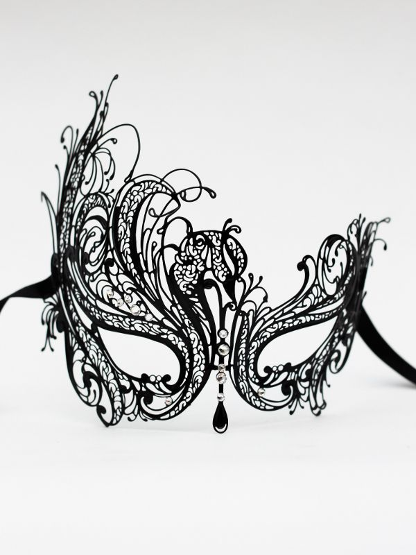 Crystal Metal Black Venetian Filigree Masquerade Mask- Masque Boutique £49.99