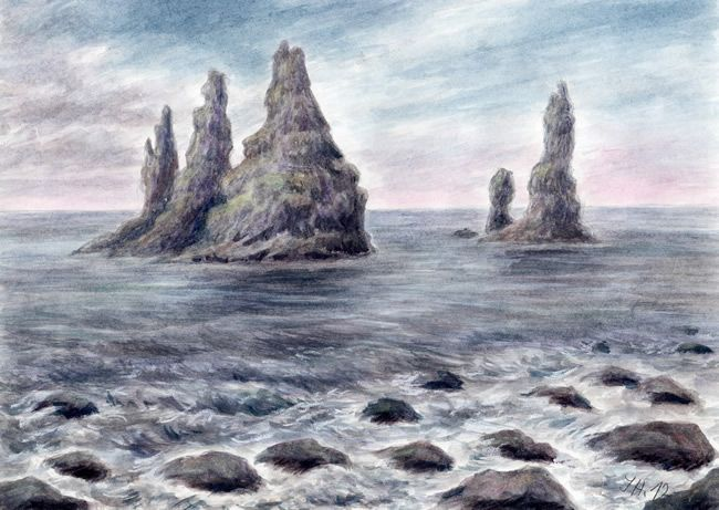 Reynisdrangar - Iceland, watercolor and pastel by Jana Haasová