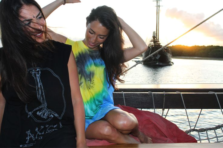 On a boat somewhere off indonesia. Peace bone and tie dye tanks now available.