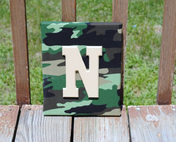 "Personalized Camouflage Camo Print with Tan Initial Canvas Wall Art 8""x10"" Customized Boys And Girls Room Decor"