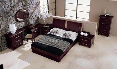 Modrest Italian Leather Wenge Finish Platform Queen Size Bed Frame With Ajustable Light