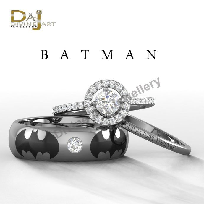 Batman 3 Piece Wedding Ring Set Pretty Batman Wedding Ring Set For Her At B Bat Wedding Rings Sets His And Hers Batman Wedding Rings Wedding Ring Sets Unique