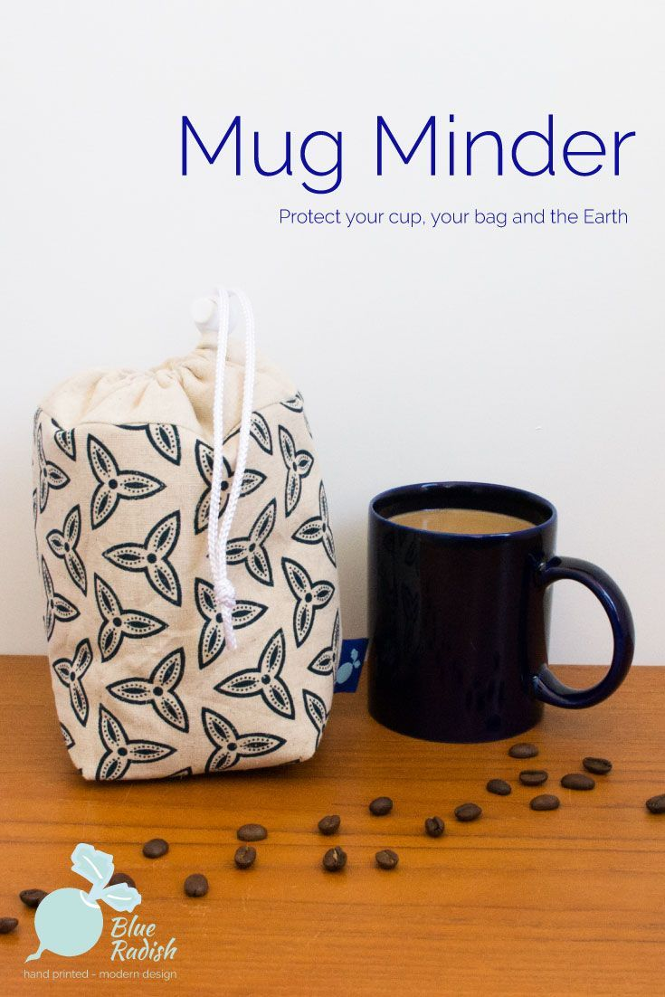 The Mug Minder will keep your reusable mug safe in your bag or car in transit to the coffee shop. Hand printed Trefoil design in navy ink on natural coloured linen/cotton. Padded with waterproof lining. Follow the link to reduce your use of disposable cups.
