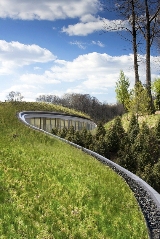 The Brooklyn Botanic Garden's new visitor center with 10,000 SqFt green roof by Weiss / Manfredi