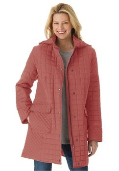 Plus Size Quilt A-line coat with hood