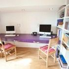 Cool Kids Study Space with Purple Study Desk and Simple Chair for Shared
