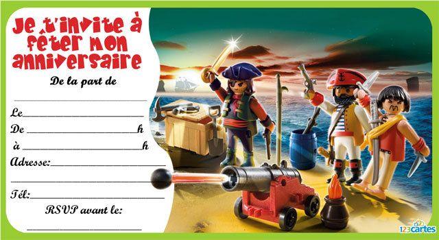 Invitation anniversaire Playmobil pirates - 123 cartes