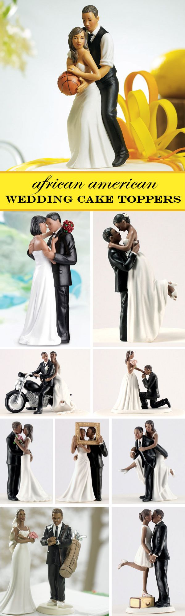 Check out these 10 NEW African American Wedding Cake Toppers....romantic, funny, sports-themed and more.