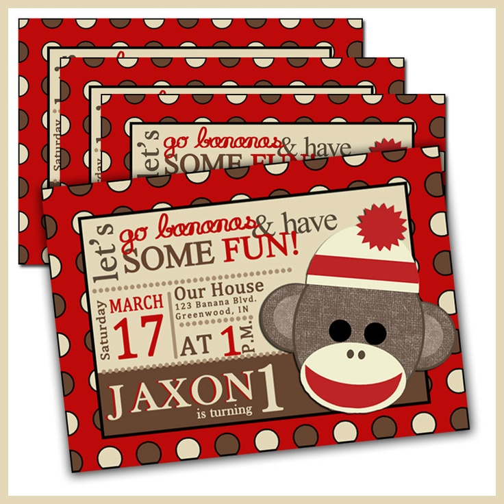 Sock Monkey Birthday Invitations Sock Monkey Invites by LullabyLou