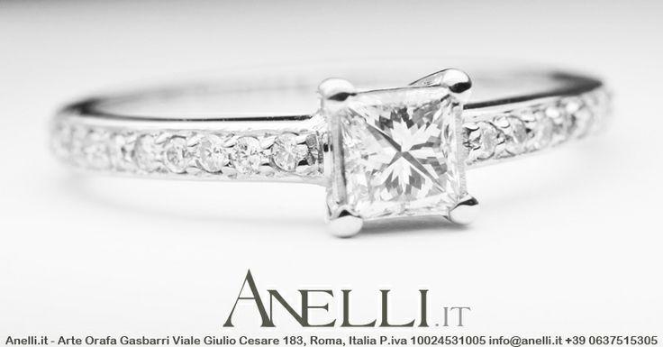 Un bellissimo esempio di Anello con Diamante taglio Princess www.anelli.it #fidanzaticonnoi #gioielliprincess