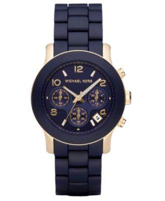 Michael Kors Watch, Women's Runway Navy Blue Polyurethane-Wrapped Goldtone Stainless Steel Bracelet 38mm MK5316