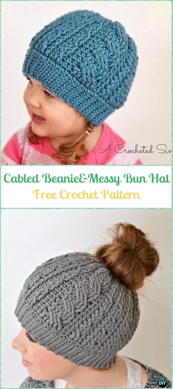 afb3fd3a2d8 Crochet Crochet Cabled Beanie Messy Bun Hat (Toddler – Adult) Free Pattern  - Crochet Cable Hat Free Patterns