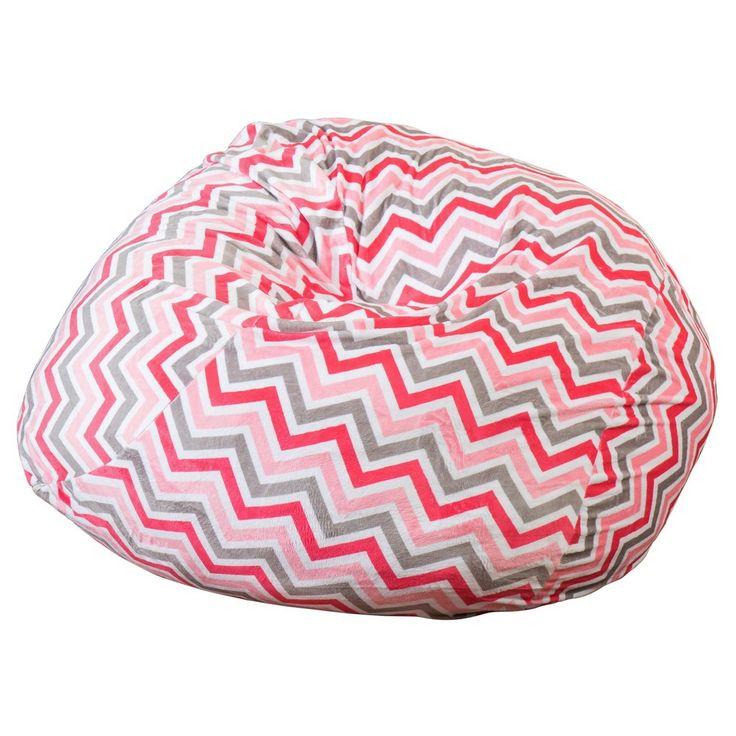 Riley 3' Stripe Bean Bag - Watermelon/Charcoal (Watermelon/Grey) - Christopher Knight Home