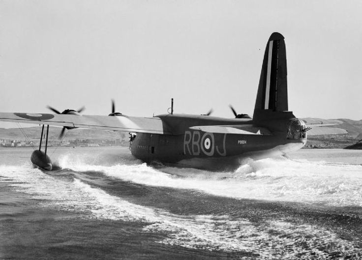 Short Sunderland Mk.I, P9604 'RB-J', of No. 10 Squadron  Royal Australian Air Force (RAAF) Detachment based at Oban, Scotland, about to taking off from Oban Bay.