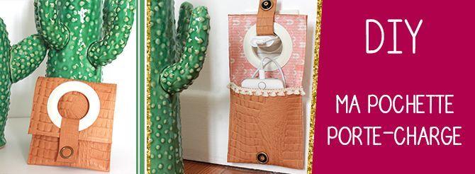DIY : mon porte-chargeur joli et très pratique ! Vu dans Idées à faire du Mai-Juin 2016  Pratique et esthétique, cette petite pochette porte-chargeur est un 2 en 1: elle permet de ranger votre chargeur ou votre téléphone et elle leportelorsqu'il est en charge grâce à une ouverture lui permettant d'être suspendu à la prise. Une bonne idée pour être chic au bureau ! Fournitures : du cuir du tissu imprimé de l'entoilage un oeillet rideau 2 pressions de … {La suite...}