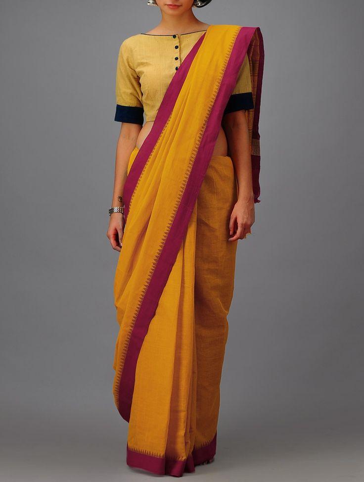 Buy Mustard Yellow Red Green Cotton Khadi Saree Sarees Printed Online at Jaypore.com