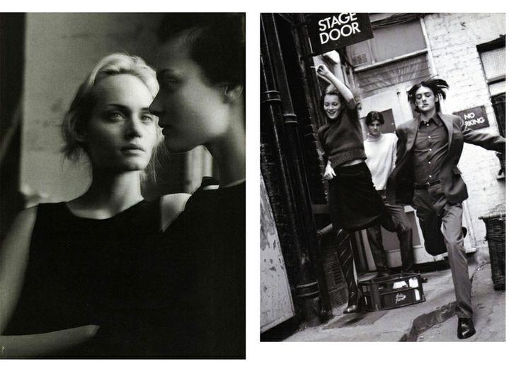 1996 Амбер Валетта и Шалом Харлоу, фото Стивена Майзела для итальянского Vogue, январь;  и Кейт Мосс в итальянском Vogue