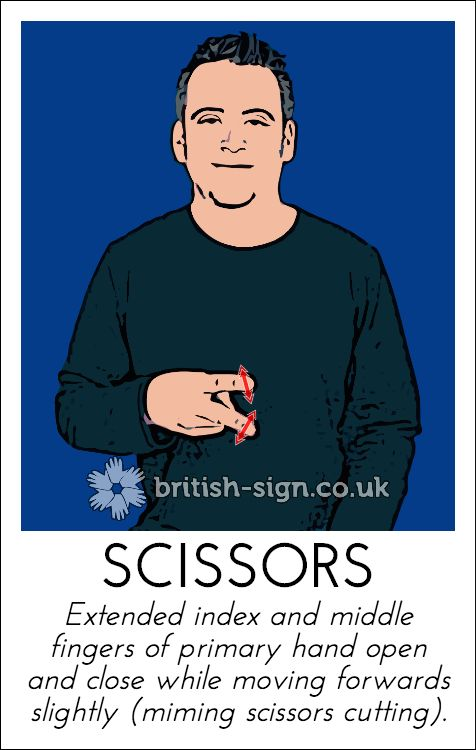 Hi. Today's British Sign Language sign is: SCISSORS - learn more online at www.british-sign.co.uk