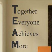 Team Work results success. Always work in a team.