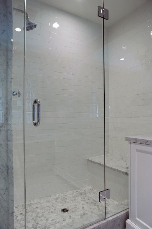 Kelly Baron - bathrooms - walk-in shower, glass shower door, glass shower front, frameless glass shower door, white subway tile, white subwa...