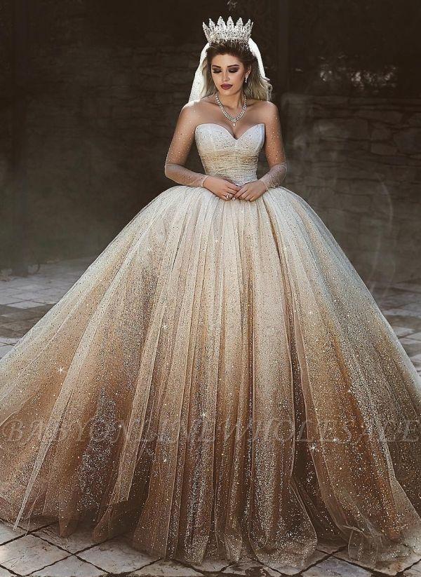 Sparkly Tulle Floor Length Wedding Dresses Scoop Long Sleeves