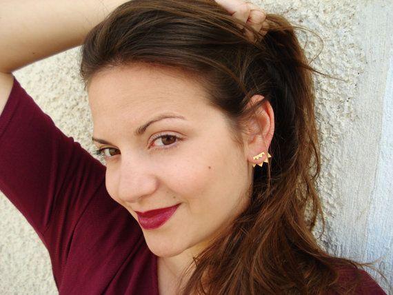 Front Back Earring- Jacket earrings- Back Ear Silver Earrings- Two Tone Toothy Silver Earrings- Back Ear Cuff - egstforgood