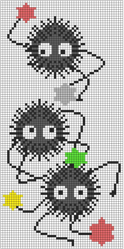 Adorable soot sprite Spirited Away cross stitch bookmark pattern  Salvo de pretty-transparents.tumblr.com