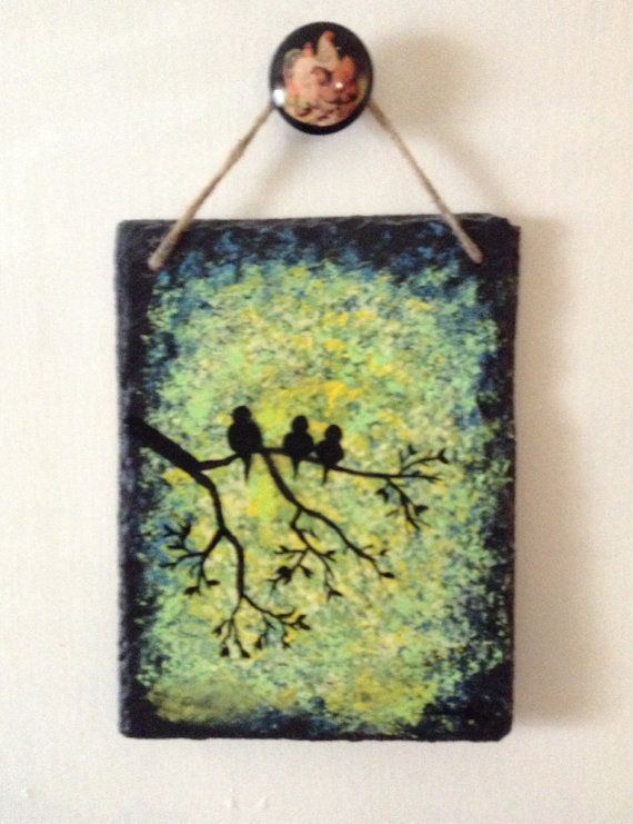 Hand Painted Slate Black Birds On Tree By