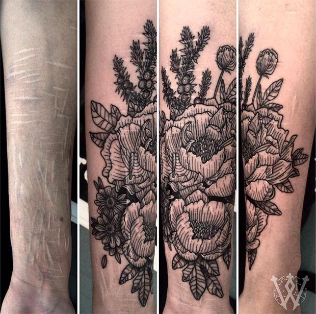 #tattoofriday- Whitney Develle cobre cicatrizes de graça de pessoas que se automutilaram;,