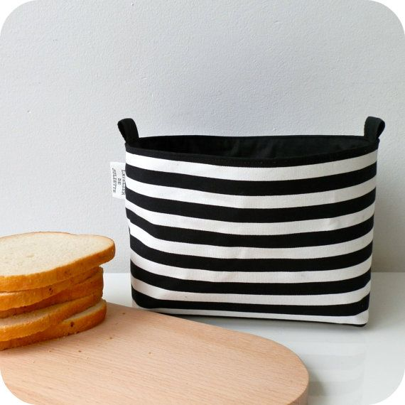 Fabric basket black striped by Latelierdejuliette on Etsy, €12.00