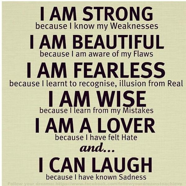 I'm strong because...Love this quote ♥