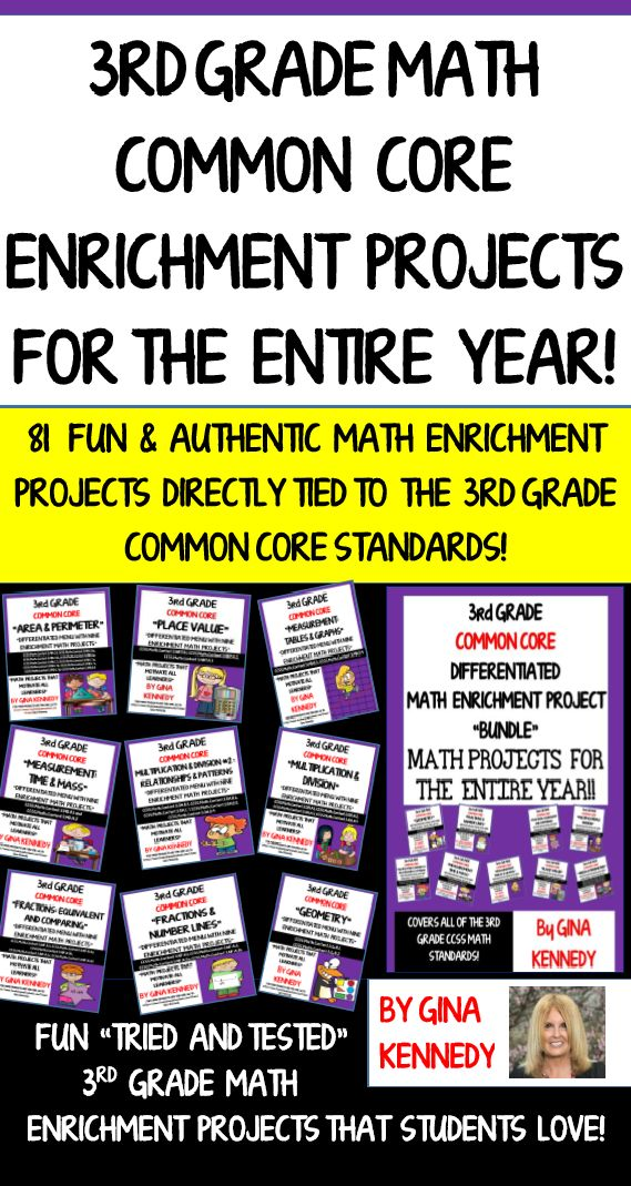 3rd Grade Math Enrichment Projects for the Entire Year! Covering all of the Common Core 3rd Grade Math Standards! I have bundled all of my 3rd grade best selling math enrichment projects that are directly tied to the 3rd grade Common Core math standards.The menus included with this product are excellent for early finishers, advanced learners or whole class fun.. They can even be cut apart as task cards and assigned to cooperative groups.  $