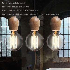 Edison Rustic/Primitive wood lamp holder spiral E27 Cottage log light bulb~1PC