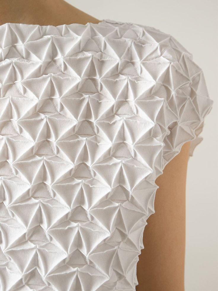 Fabric Manipulation - textured dress with geometric pleats; innovative textiles; origami fashion detail // Issey Miyake