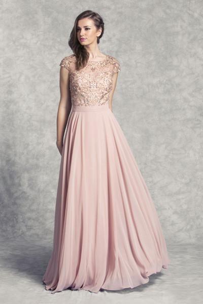 Embroidery Neckline Cap Sleeve Dress