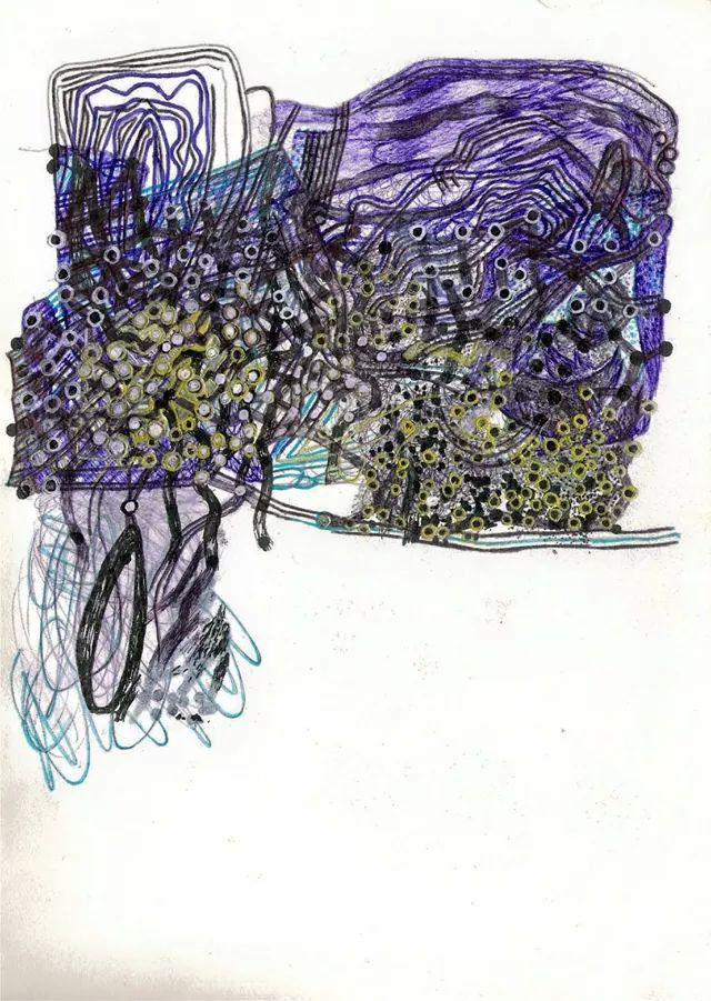 """""""Crediting all my insanities"""". Ballpoint pen drawing."""