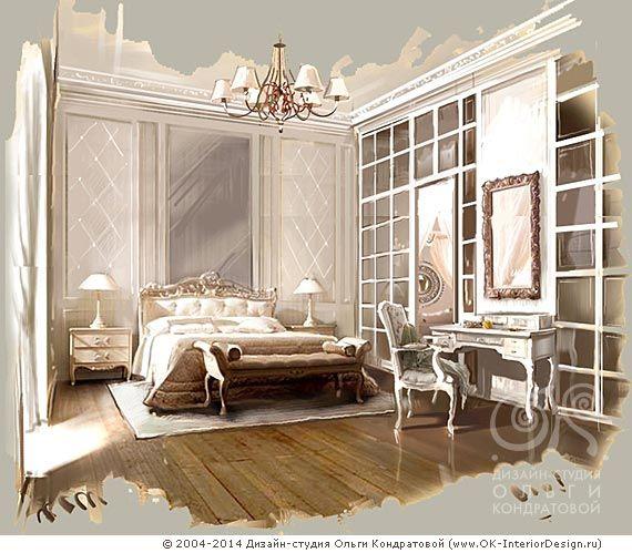 Дизайн-проект интерьера загородного дома в стиле французской классики. Интерьеры кабинета и спальни настолько аутентичны, что создается ощущение петешествия во времени.