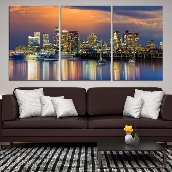 57993   Boston City Decorative Wall Art Canvas Print   Boston Skyline,  Boston, Boston Canvas, Boston Wall Art, Canvas Print, Boston Print, Wall Art