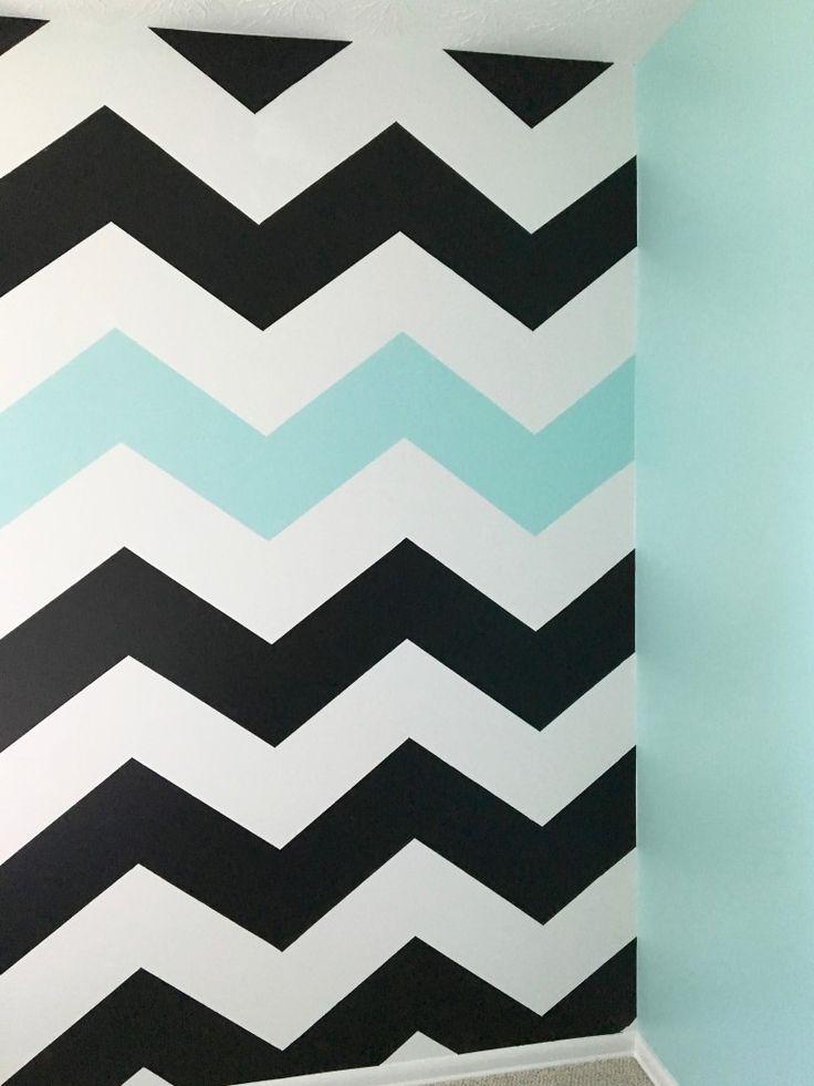 How_to_paint_chevron_stripes_ turquoise_black_white